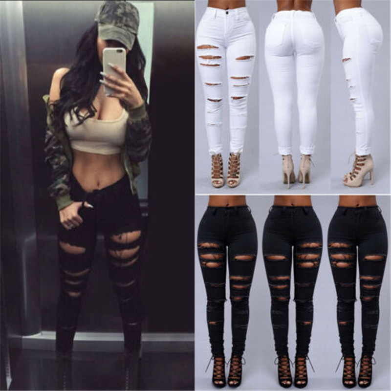 High Street Women Pencil Stretch Casual Denim Skinny   Jeans   Pants High Waist Ripped Holes Black White   Jeans   Trousers