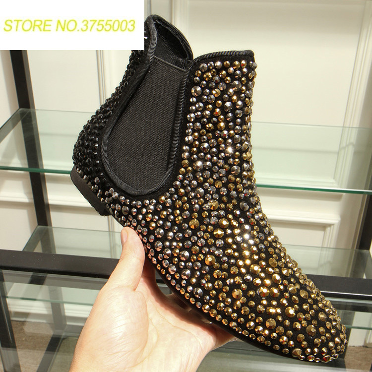 Bottes Noir Glissent 2018 Mujer As Show as Appartements Botas Strass Sur Plat Cheville Européenne Or Hiver Femmes Show Chaussures Moto xqWI8q41Zn