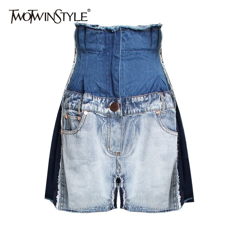 TWOTWINSTYLE Casual Hit Color Women Denim   Shorts   Patchwork High Waist Tunic Button Female Clothes Fashion 2019 Spring Tide