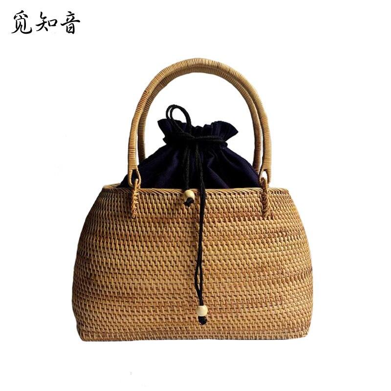 Femmes Vintage sac de paille femme à la main tissage sac à main bohème dames rotin panier voyage été plage cordon fourre-tout Ss3136