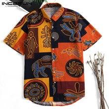 INCERUN 2019 Hawaiian Men Short Sleeve Slim Fit Floral Print Shirts Holiday Streetwear Tee Casual Mens Blouse Camisas Masculina недорого