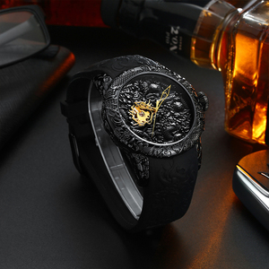 Image 5 - MEGALITH Gold Dragon Sculpture Automatic Mechanical Watches Men Waterproof Silicone Strap Quartz Wristwatch Clock Relojes Hombre