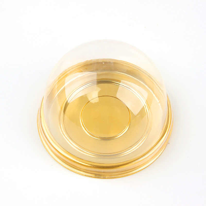 50 Pcs Mini Round Moon Cake Holder Clear Dome Box Plastic Cake Boxes Black Yellow Cupcake Candy Packing Box