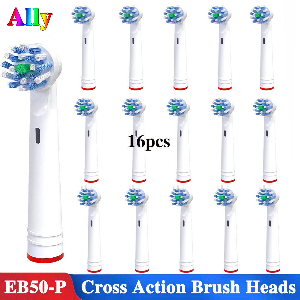 16pcs Electric Toothbrush Heads Replacement Brush Heads For OralB Triumph Vitality OC20 DC121 Cross Action Toothbrush Heads