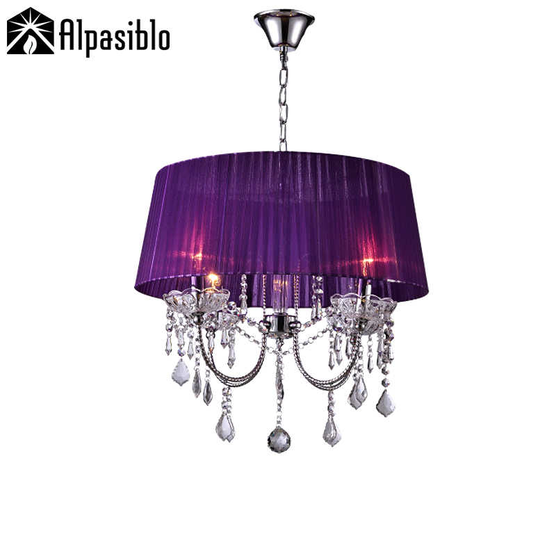 Luxury crystal chandeliers light Round Lighting 13 color lampshade 4pcs bulb holder fabric lamps shade luminaire chandelier lamp