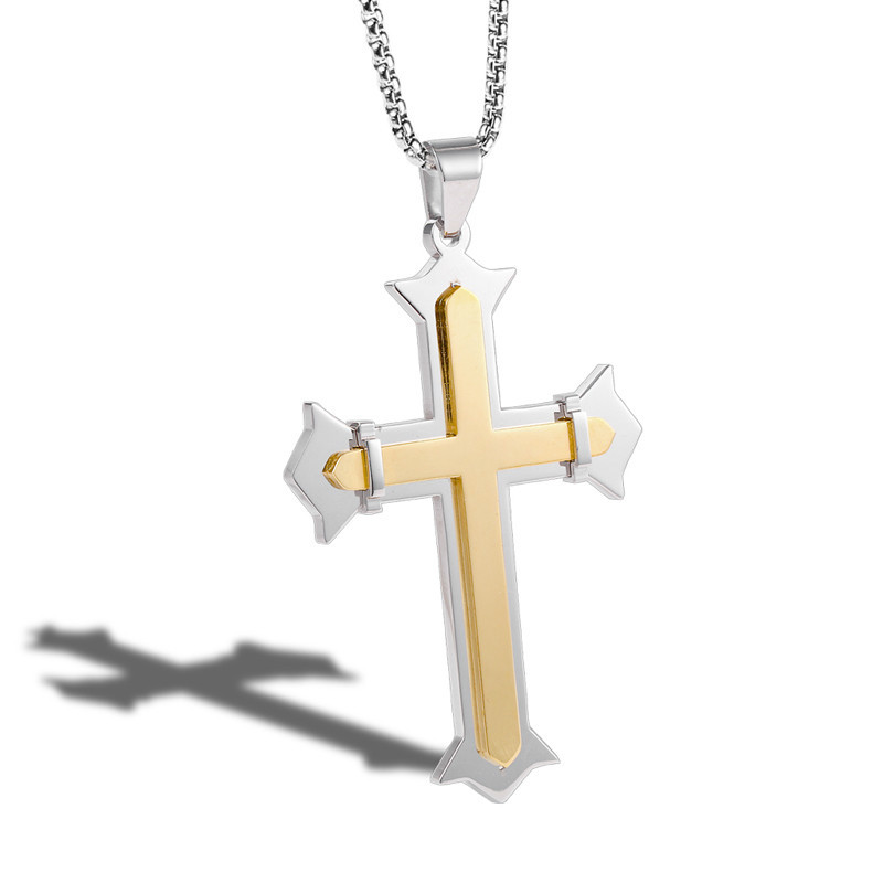 Fashion Simple Cross Pendant Necklace Silver Gold Double Color Stainless Steel Cross Pendant Chain For Men Women Necklaces in Pendants from Jewelry Accessories