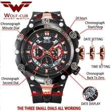 WOLF-CUB Big Dial Men's Sports Watches Waterproof Red Dial Man Steel Chronograph Quartz Wrist Watch Military Relogio Masculino