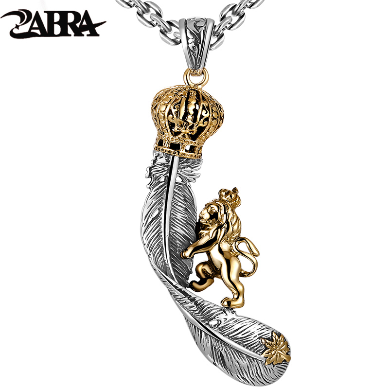 ZABRA Lion King Crown Feather Steampunk Cool Colgante Biker Hombres Collar 2 colores Vintage Real Solid 925 Joyería de plata esterlina