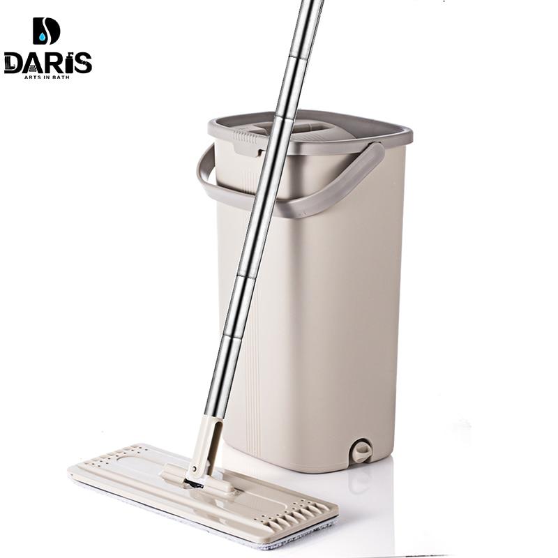 Seau de vadrouille plat, presser la main libre avec manche en acier inoxydable nettoyage de sol sec mouillé 360 têtes rotatives avec tampons réutilisables