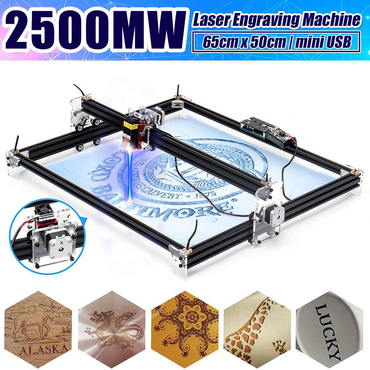 2500mW Professional 65*50cm Automatic Desktop Mini CNC Laser Engraver Cutter Home DIY Tool Engraving Wood Cutting Machine Router