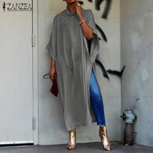 2019 ZANZEA Batwing Sleeve Maxi Dress Womens Sundress Female Drawstring Pile Collar Split Sarafans Vestido Tunic Robe 5XL shirred drawstring split sleeve top