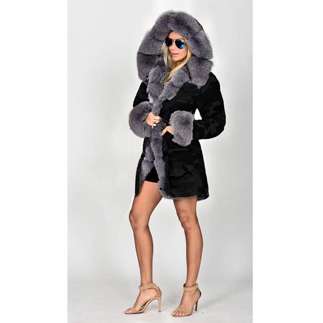 FURGAZI Fashion Faux Fur Parka