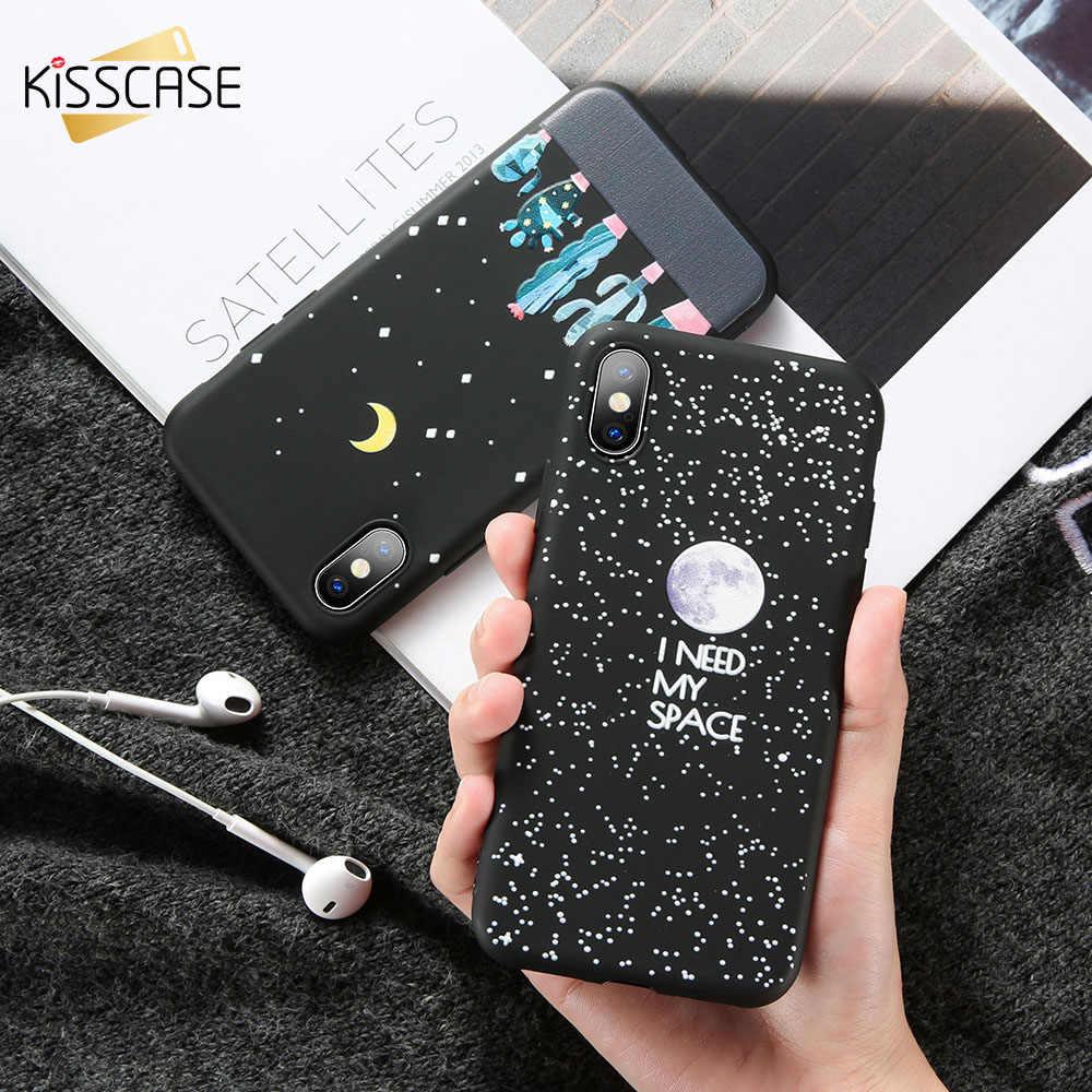 KISSCASE น่ารักลายการ์ตูนสำหรับ Xiao mi 8 SE mi A1 A2 F1 สีแดง mi หมายเหตุ 6 5 Pro 4X 4A 5A Y1 S2 Moon Star Frosted Soft Cover