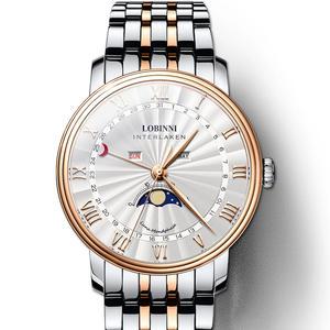 LOBINNI, роскошные Брендовые мужские часы, швейцарские часы, мужские сапфировые водонепроницаемые, Moon Phase, reloj hombre, Japan Miyota, L3603-2