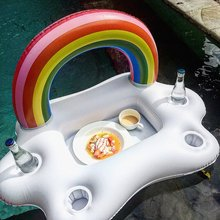 цены Summer pool  Party Bucket Rainbow Cloud Cup Holder Inflatable Pool Float Beer Drinking Cooler Table Bar Tray Beach Swimming Ring
