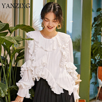 2019 High Qualty Niche Rufulles Frill Butterfly Long Sleevele White Chiffon Shirt For Women Round Collar Blouse R428