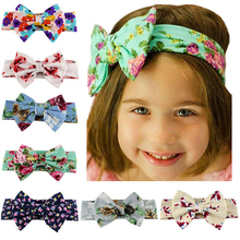 Large Flower 1PC 2019 New Girls For Kids Popular Elastic Big Bowknot Turban Hair Accessories Band Headband Hot Sale