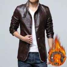 SWYIVY Mens PU Leather Coat Jacket Fur Slim Casual Coats Single Breasted Winter Warm Male Cotton Padded Jackets For Man