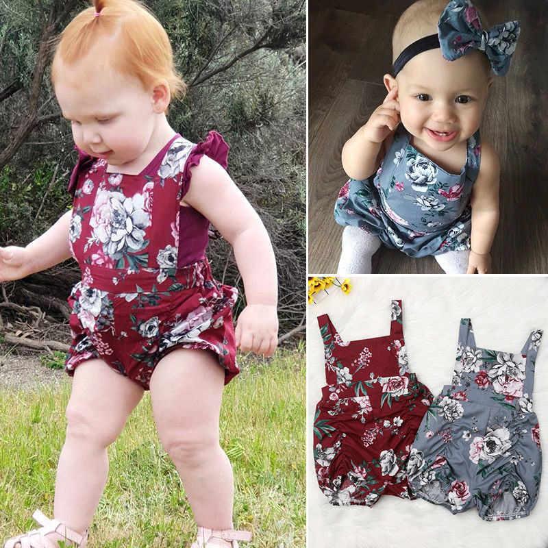 37888091c22 Newborn Infant Summer Baby Girl Rompers Kids Floral Short Jumpsuit Baby  Clothing Sunsuit