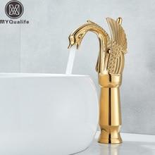 Mitigeur de salle de bains en forme de cygne, robinetterie de pont, robinets de lavabo à un trou avec eau chaude et froide, robinet de lavabo de couleur dorée une poignée