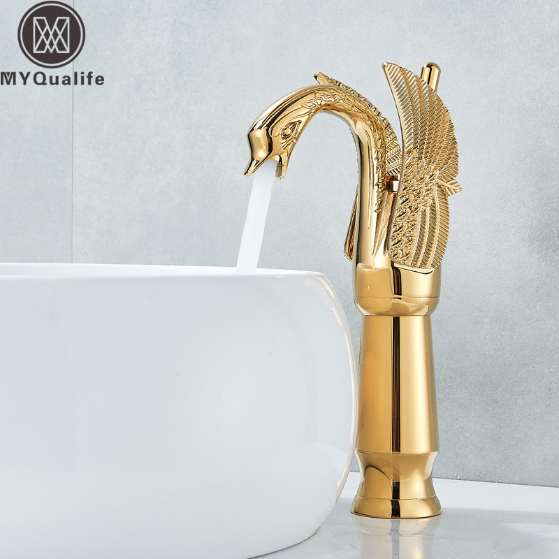 Swan Shape Bathroom Mixer Faucet Tap Deck Mount One Hole Water Taps with Hot Cold Water Golden Color Basin Faucet One HandleSwan Shape Bathroom Mixer Faucet Tap Deck Mount One Hole Water Taps with Hot Cold Water Golden Color Basin Faucet One Handle