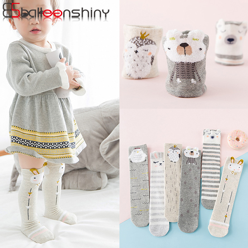 BalleenShiny Cartoon Knee High Socks Baby Girls Cotton Striped Cute Long Socks Child Kids Infant Autumn Winter Sock For 1-12Y