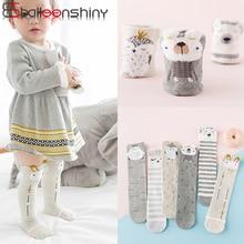 BalleenShiny Cartoon Knee High Socks Baby Girls Cotton Striped Cute Long Socks C