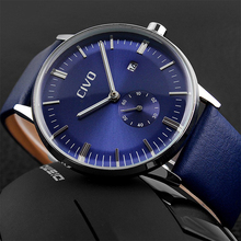 CIVO Top Brand Luxury Waterproof Analogue Mens Watches Genuine Leather Quartz Wrist Watch For Men Business Clock Reloj Hombre