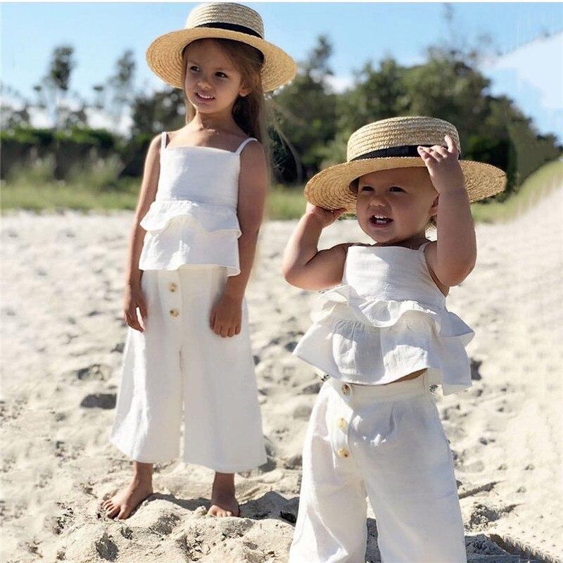 1-5 T Kleinkind Kinder Baby Mädchen Nette Kleidung Set Boho Strand Sommer Rüschen Crop Top Und Hosen Baumwolle Playa Set Schöne Outfits