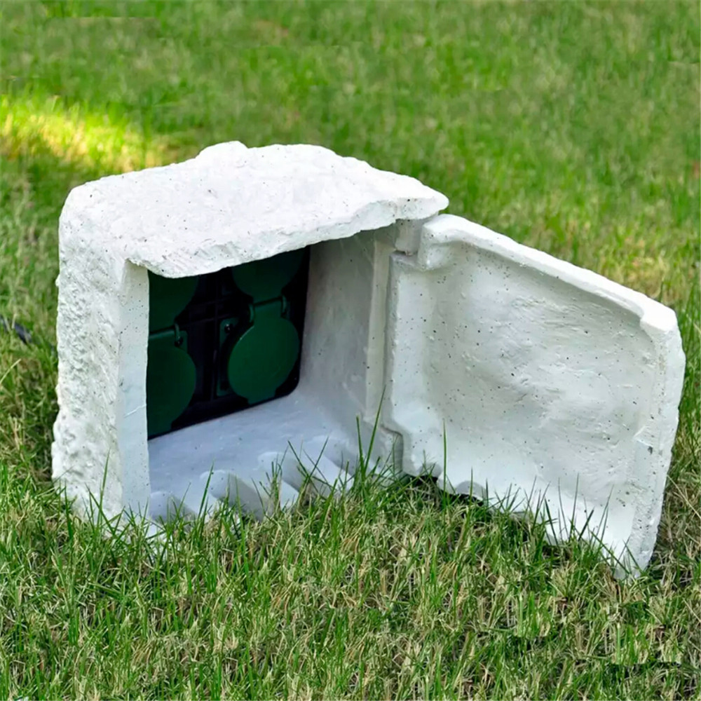 Stone Socket Outlet Stone 4-Way Garden Socket Splash-Proof Creative Outdoor Stone Socket For Garden  Lawnmower Pond Pump V3
