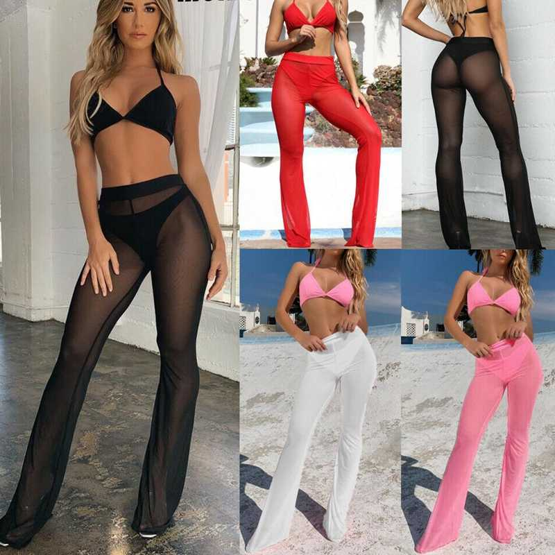 Sexy Women Beach See-through Mesh High Waist Elastic Sheer Wide Leg Pants Trousers Bikini Cover Up S-XL