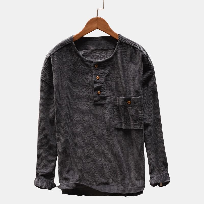 Male Social Dress Shirt New Design 2019 Corduroy Long Sleeve Casual Shirt Loose Crew Neck Pullover Men Tops Autumn Men Clothes