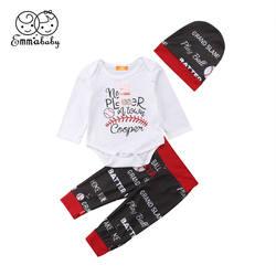 Одежда для малышей из 3 предметов, Одежда для новорожденных мальчиков и девочек с длинным рукавом, с надписью, боди с принтом, штаны, шапка