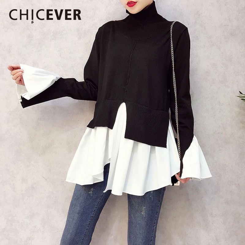 CHICEVER 2019 Spring Patchwork Pullovers Knitted Sweater For Women Turtleneck Flare Sleeve Irregular Female Jumper Sweaters Tide