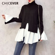 CHICEVER 2020 Spring Patchwork Pullovers Knitted Sweater For Women Turtleneck Flare Sleeve Irregular Female Jumper Sweaters Tide