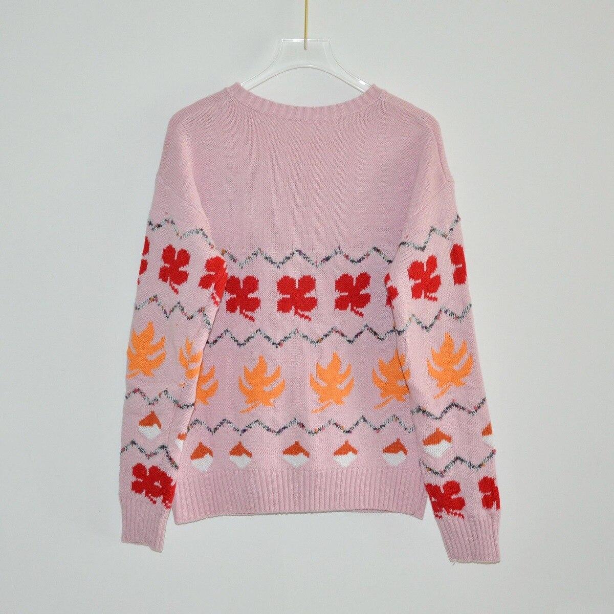 Femme Pull Manches Haute 2018 Colour Tricoter Col Nouveau Date Chandails À Mode De Long Rond Qualité Pink Écureuil Dames Automne wZTnqRC