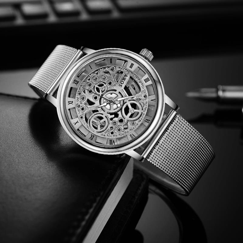 Mode affaires squelette montre hommes gravure creux robe Quartz montre-bracelet en acier inoxydable bande femmes horloge Relojes Mujer