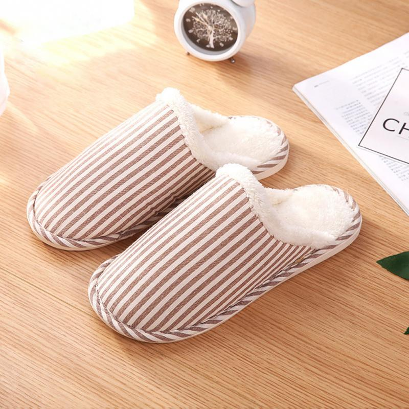 New Unisex Autumn Winter Warm Cotton Striped Slippers Women Men Casual Slipper Plush Indoor Bedroom Couple Lovers Slippers 20 new unisex new fashion men shoes summer slippers beach men slippers women casual slippers lovers three stripe outdoor slipper