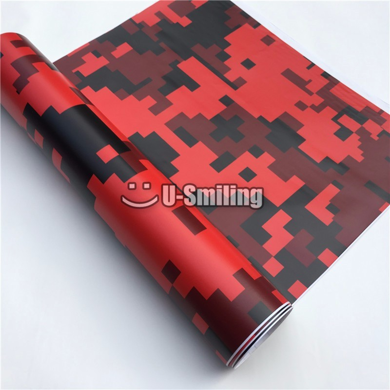 Pixel Red <font><b>Camouflage</b></font> Vinyl Film Roll Car <font><b>Sticker</b></font> Foil <font><b>Sticker</b></font> Sheet Bubble Free <font><b>Bike</b></font> Console Computer Skin image