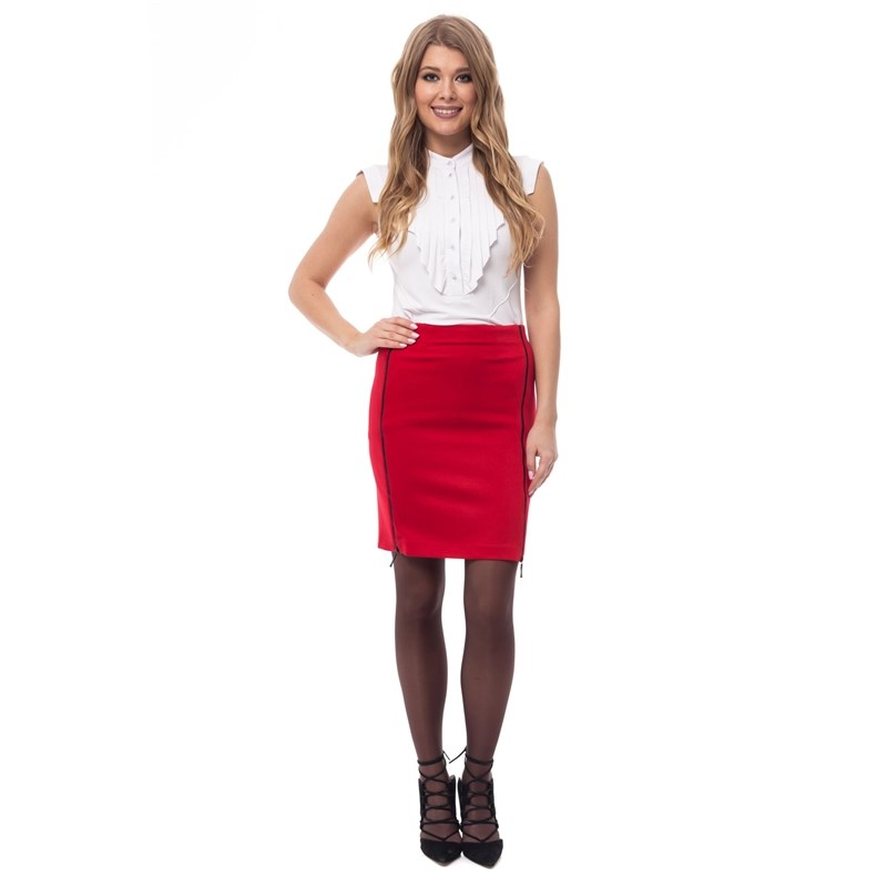 Pencil skirt with decorative zippers. button side stripe pencil skirt