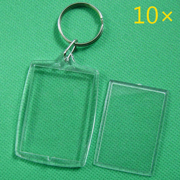 10 Pcs Keychain Chave Anéis Da Cadeia Em Branco Claro e Transparente de Acrílico Molduras 32x46mm Medalhões HSJ88