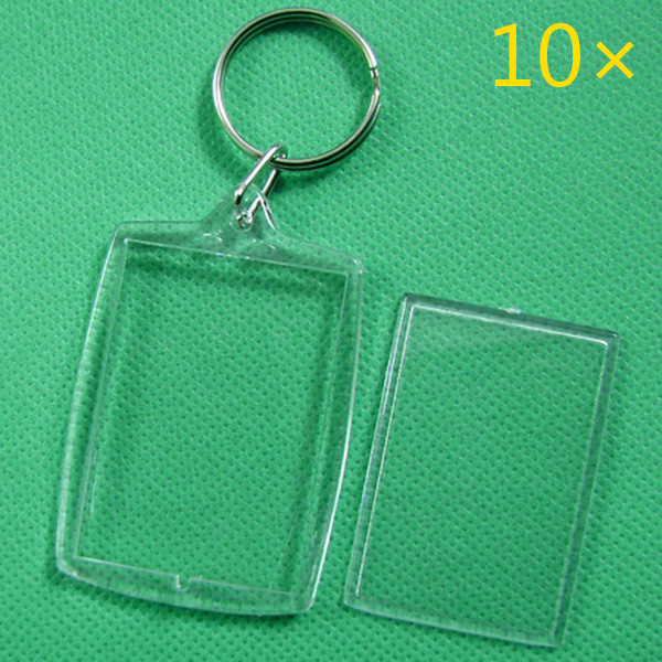 10 Pcs Keychain Key Chain Rings Blank Clear Transparent Acrylic Picture Frames 32x46mm Lockets HSJ88
