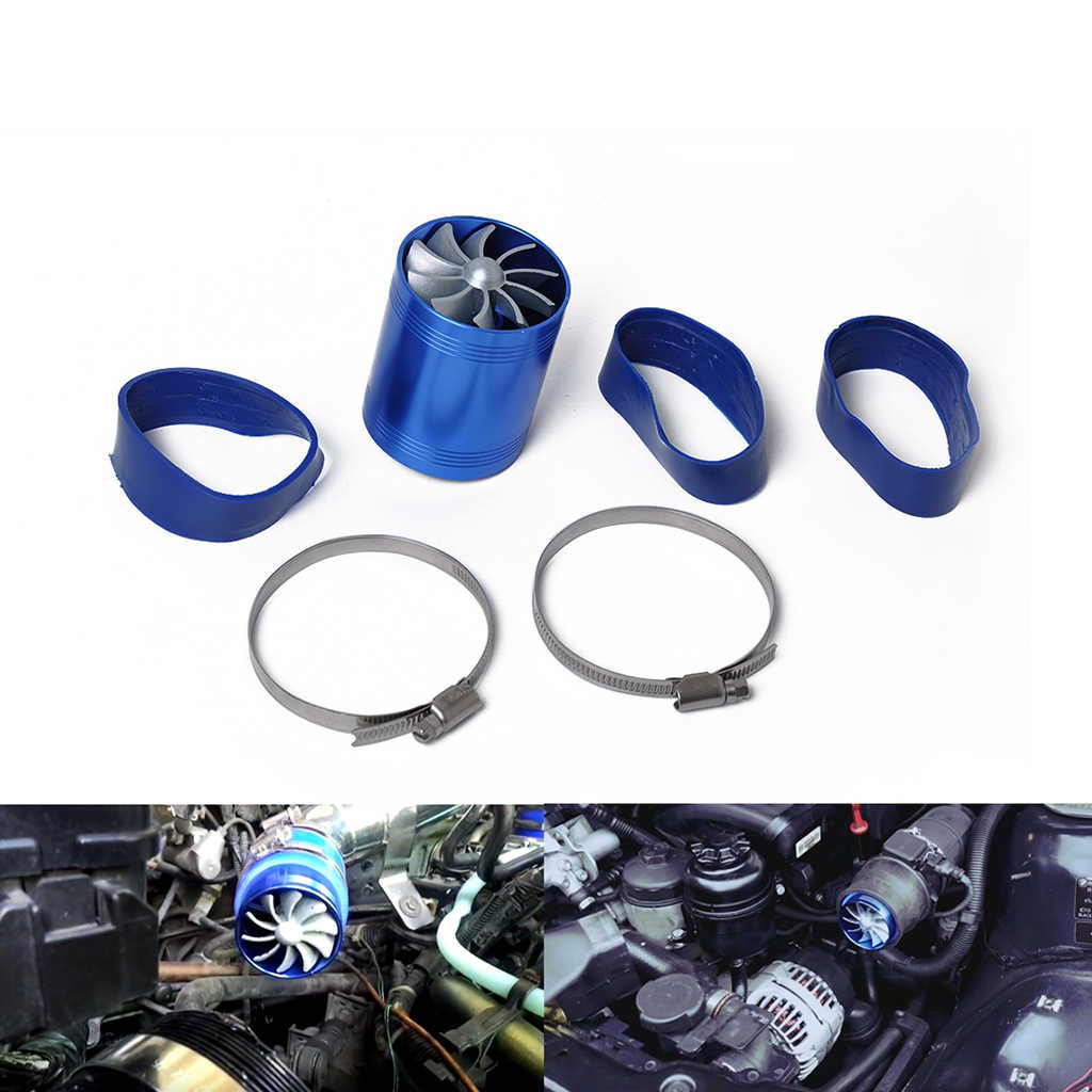 "Turbine Short Ram//Cold Air Intake Turbonator 3/"" Dual Fan Gas Fuel Saver Blue"