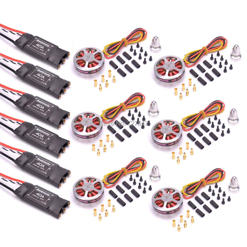 6Pcs 5010 360KV / 750kv High Torque Brushless Motors + 6Pcs Readytosky 40A ESC OPTO 2-6S for ZD850 ZD550 S550 F550 Quadcopter6Pcs 5010 360KV / 750kv High Torque Brushless Motors + 6Pcs Readytosky 40A ESC OPTO 2-6S for ZD850 ZD550 S550 F550 Quadcopter