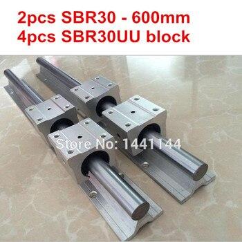 SBR30 linear guide rail: 2pcs SBR30 - 600mm linear guide + 4pcs SBR30UU block for cnc parts