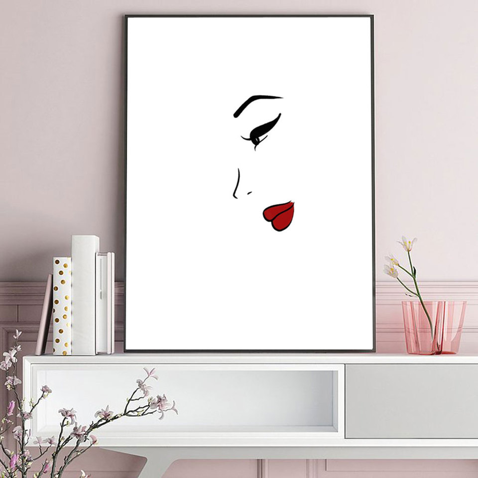 Lechao Simple Drawing Posters And Prints Sexy Woman Wall Art Prints 3 Colors Nordic Style For Living Room Home Decor No Frame Aliexpress