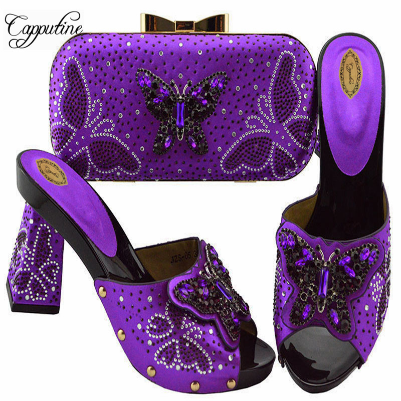 Capputine Hot Sale Rhinestone Ladies Purple Shoes And Bag Set Fashion Italian High Heels Shoes And Bag Set For Party On Stock