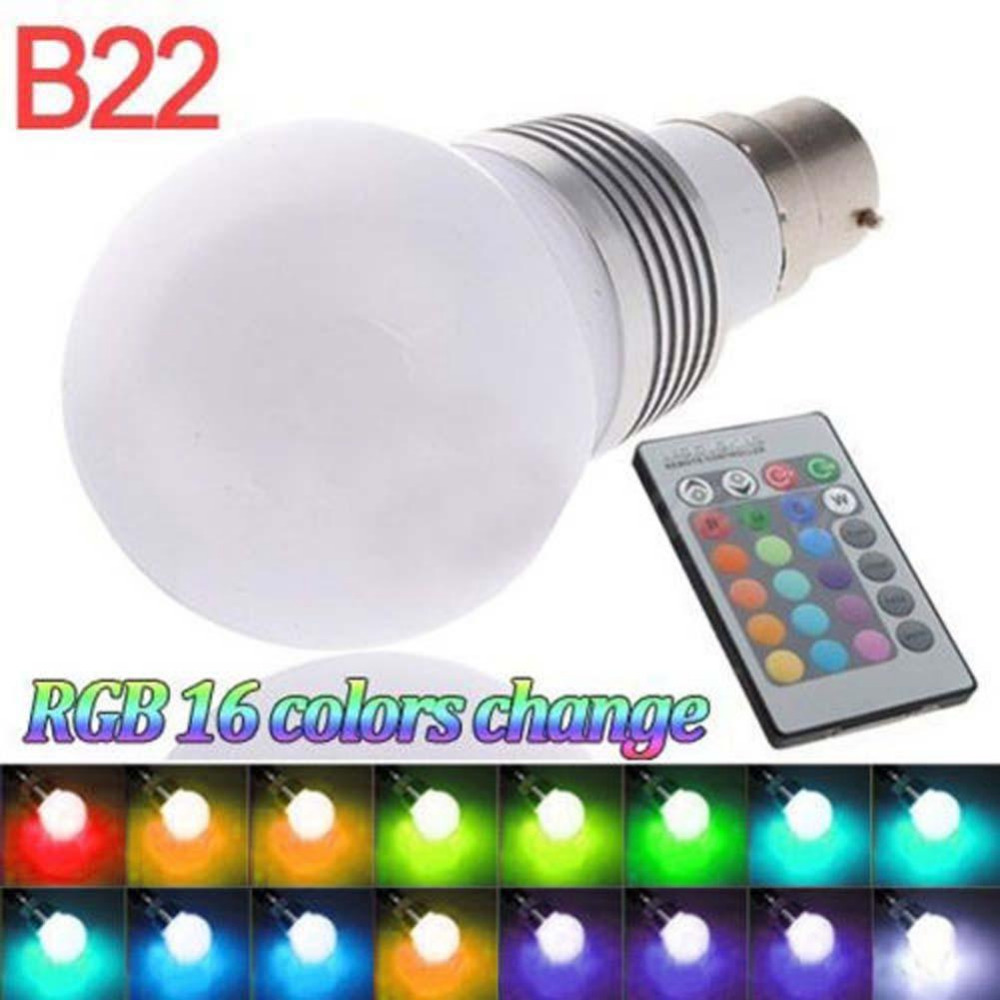 Skywolfeye B22 3W 16 Color Changing RGB LED Light Bayonet Bulb Remote Control Globe Lamp