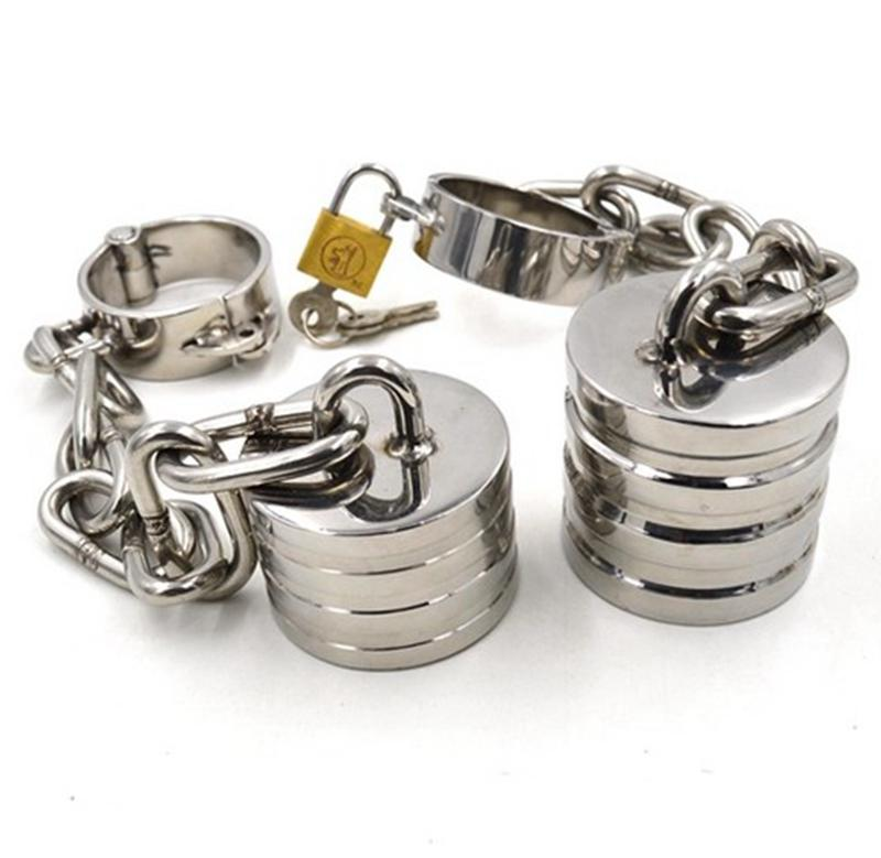 Chastity Cock Rings Stainless Steel Scrotum Stretching <font><b>Ball</b></font> Stretcher BDSM Bondage Devices <font><b>Ball</b></font> Weights <font><b>Adult</b></font> <font><b>Sex</b></font> <font><b>Toys</b></font> <font><b>For</b></font> <font><b>Men</b></font> image