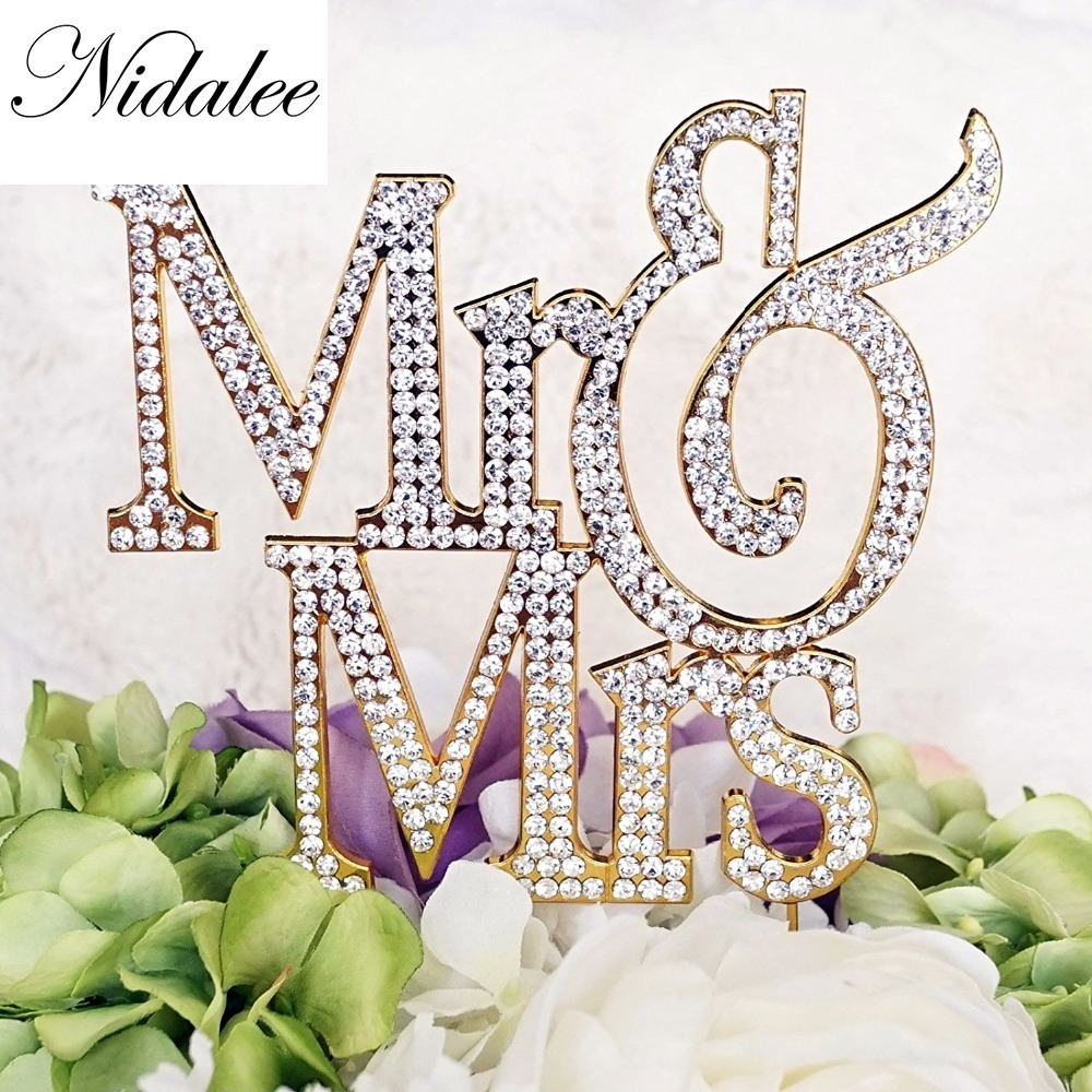 Nidalee Wedding Engagement Jewelry Mr Crystal Rhinestone Cake Toppers For Funny Wedding party Decoration Hapy Birthday Candle